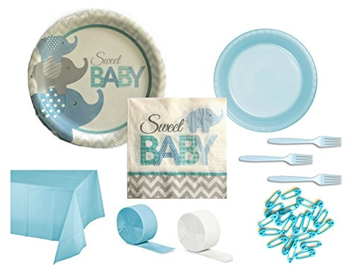 Luncheon Plates Shower (Blue Elephant Boy Sweet Baby Shower Party Supply Bundle for 24 Guests - Includes Plates, Napkins, Tablecover, Forks, Streamers and Safety Pin Cake Toppers)