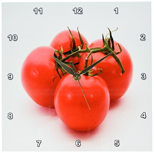 3dRose dpp_47904_1 4 Red Tomatoes with Vine Wall Clock, 10 by 10-Inch