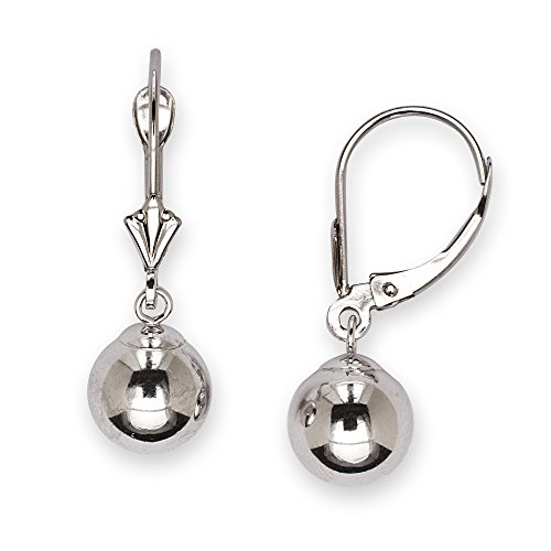 14k White Gold Large Ball Drop Leverback Earrings - Measures 27x8mm - JewelryWeb by JewelryWeb