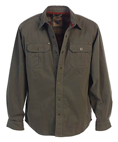 - Gioberti Men's Brushed and Soft Twill Shirt Jacket with Flannel Lining, Olive, L