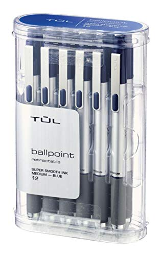 TUL BP3 Ballpoint, Retractable, Medium Point, 1.0 mm, Silver Barrel, Blue Ink, Pack of 12 ()