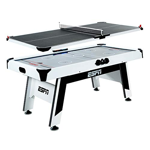 Power Air Hockey Table - ESPN Dual Air Hockey and Table Tennis Converter Set for Adults and Kids - 2-Person Hockey and Ping Pong Tabletop Game Sets - Fun Combo Tables for Family - Game Equipment for Home, Bar, Arcade