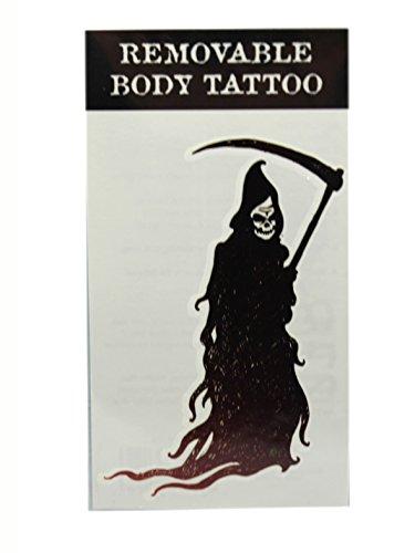 Scythe Wielding Grim Reaper Temporary Body Tattoo by Ganz
