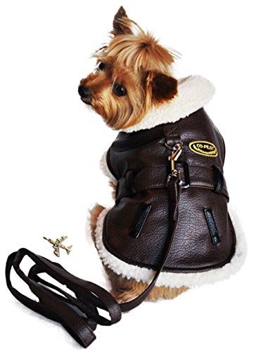 "Bomber Pilot Aviator Jacket Harness for Dogs – includes Themed Charm and matching Leash - Sizes XS thru 2XL (Medium- Chest 15""-19"", Neck 13""-16"", Dark Brown) (Aviator Trimmed)"
