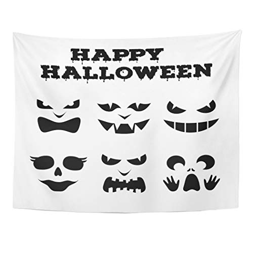 Tarolo Decor Wall Tapestry Collection of Halloween Pumpkins Carved Faces Silhouettes Black and White Images Variety Eyes Mouths Noses 60 x 50 Inches Wall Hanging Picnic for Bedroom Living Room Dorm]()