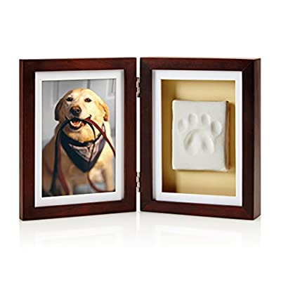 Pearhead Pet Pawprints Picture Frame and Ink Kit - Create and frame an impression of your pet's paw and place next to their 4 x 6 inch photo No mixing and no mess.  Air dry within 24-48 hours Includes no mess impression material, rolling pin, and clay shaping ruler - picture-frames, bedroom-decor, bedroom - 41tcQDYaKeL. SS400  -