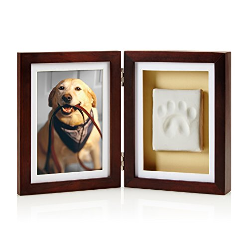 Paw Print Pet Keepsake Photo Frame With Clay Imprint Kit, Perfect Keepsake Frame for Pet Lovers ()