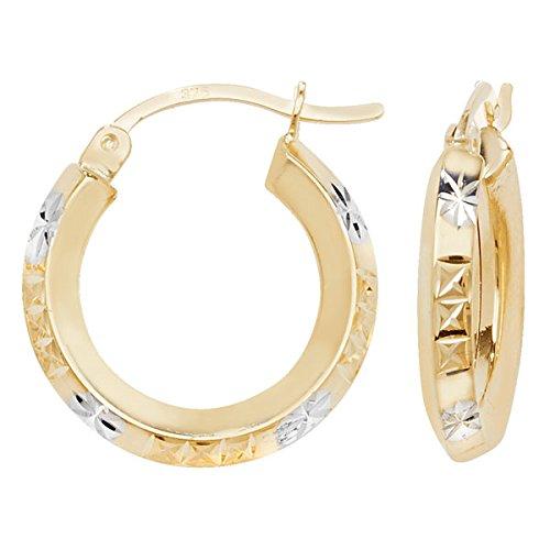 Boucles d'oreilles créoles en or 9carats 2tons Découpe Diamant