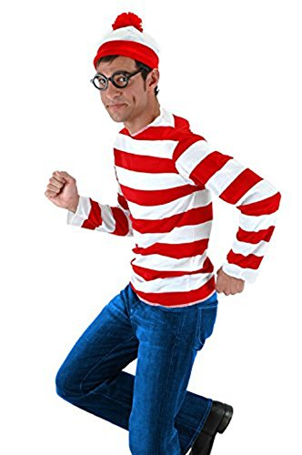 Where's Waldo Costume Men (Where's Waldo Now Costume Adult Funny Sweatshirt Hoodie Outfit Glasses Hat Cap Suits)