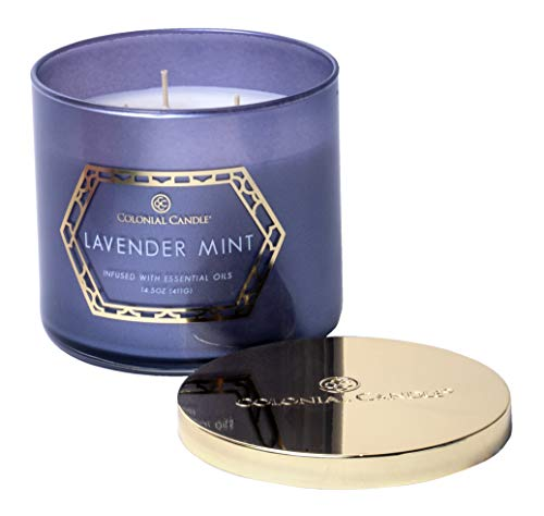 Colonial Candle Lavender Mint, The Luxe Collection, Highly Scented Candle in Decorative Colored Glass Jar, Medium 14.5 OZ