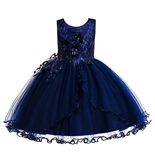 Weileenice Kids Big/Little Princess Girl Costume Lace Dress Girl Flower Pageant Tutu Dresses (5-6Years, Navy Blue)]()