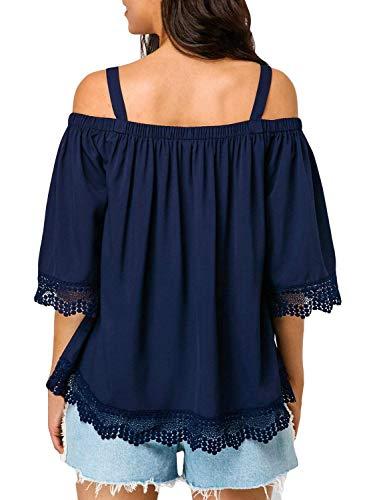Puro Manica Fionda Shirt di Sciolto Schwarz Fashion Shirt Mode T Tops Donna Estivi Mezza Camicetta Spalline Colore Blusa Donne Casual Eleganti BOLAWOO Marca Senza 8x4qnTxIw