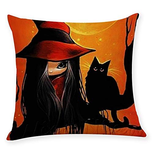 HomeMals Halloween Greetings Witch and Black Cat Burlap Throw Cushion Cover Pillowcase]()