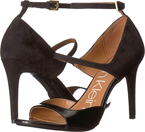 Calvin Klein Women's Nadeen Heeled Sandal, Black Leather/Suede, 8 M US (Calvin Suede Heels)