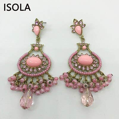Statement Charming Rhinestone India Style Vintage Chandelier Hanging Dangle Earrings Earrings Jewelry for Woman (E032D Pink)