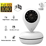 OMZBM 3D 360 Panoramic Dome Wireless WiFi IP Camera, 1080P HD Home Smart APP Remote Security Surveillance Camera with 16G Memory Card
