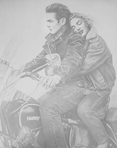 - ImpactInt Marilyn Monroe and James Dean on Harley Motorcycle Art Print Poster (22x28 Inch)