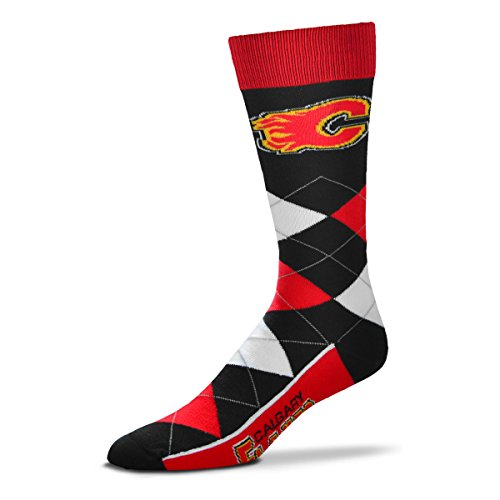 For Bare Feet NHL Argyle Lineup Unisex Crew Dress Socks-One Size Fits Most-Calgary Flames