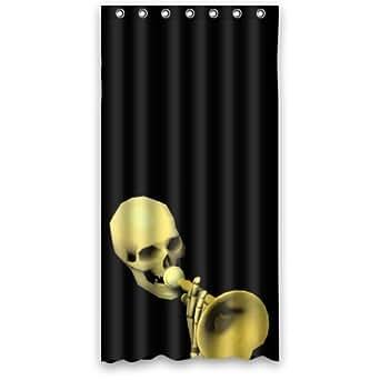 36 w x 72 h art skull horn waterproof fabric shower curtain 100 polyester hot. Black Bedroom Furniture Sets. Home Design Ideas