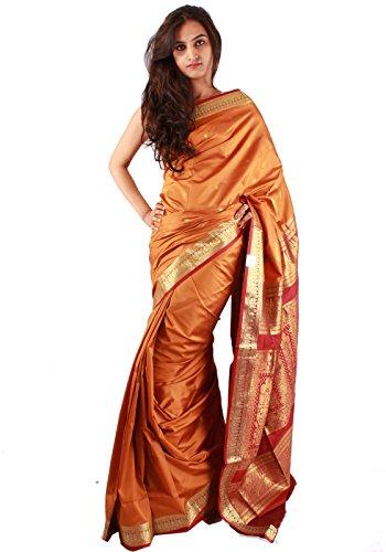 Traditional Casual Wear Orange Saree Zari Work Indian Art Silk Sari