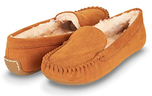 Floopi Womens Indoor/Outdoor Faux Fur Lined Basic Moccasins Slipper W/Memory Foam (10, Chestnut-320)