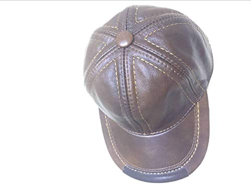 5f2cd64c HSRT Mens Cowhide Leather Solid Adjustable Baseball Cap Casual Cosy  Sunshade Sport Cap Brown