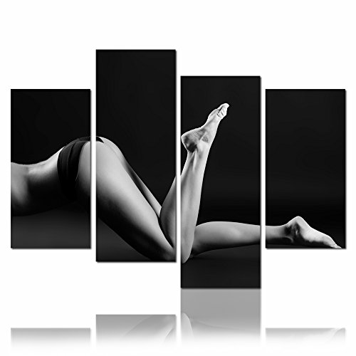 Live Art Decor - Nude Women Canvas Print for Bedroom Wall Decor,Sexy Girl Body Legs Picture Stretched on Wood Frame,Naked Lady Wall Art- 48