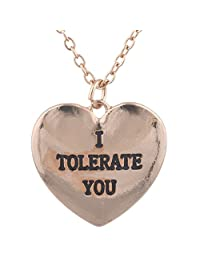 Lux Accessories Rose Goldtone I Tolerate u Kitschy Funny Heart Pendant Necklace