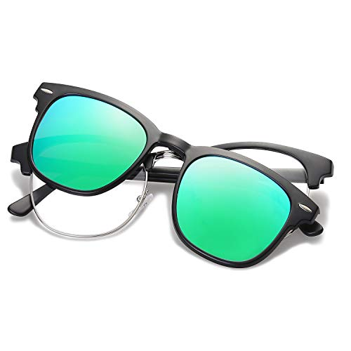 SOJOS Semi Rimless Polarized Clip On Sunglasses Half Horn Rimmed SJ5018 with Matte Black Frame/Green Mirrored Polarized Lens ()