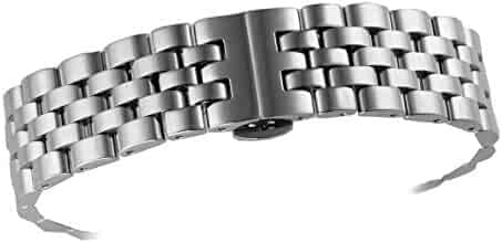 db9ff554b929f 20mm High-End Curved End Metal Watch Bands Replacements Silver Plated  Quality Solid Stainless Steel
