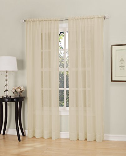 No. 918 Erica Crush Sheer Voile Curtain Panel, 51-Inch by 63-Inch, - Crushed Voile
