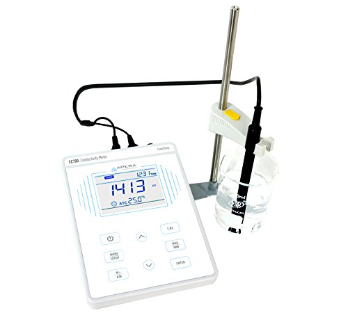 Apera Instruments AI502 EC700 Benchtop Lab Conductivity/Temperature Meter, Plastic, 1% F.S Accuracy, 0-200.0 mS/cm Range, 1-4 Points Auto Calibration