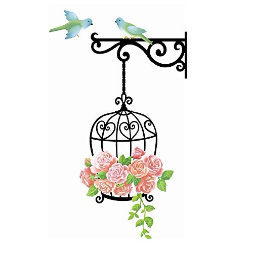 (DNVEN 22 inches x 33 inches Home Room Removable PVC Rose Flowers Cages Wall Sticker Decals Decorations Decors )