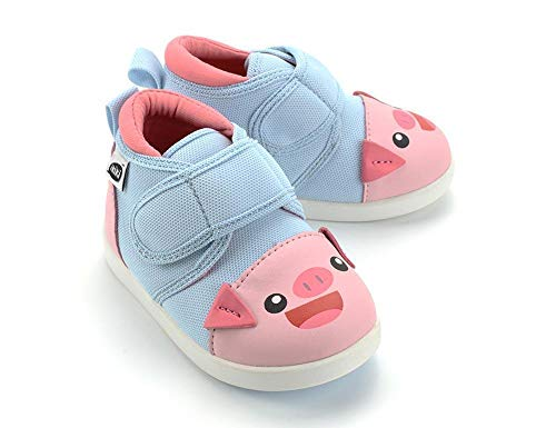 - ikiki Pig Squeaky Shoes for Toddlers w/Adjustable Squeaker Baby Blue Girl or Boy Shoes (Size 4, Penelope Hamilton)