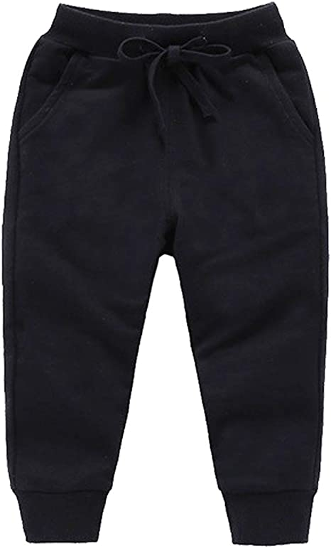 Welity Boys /& Girls Cotton Jogger Pants 18 Months-10 Years