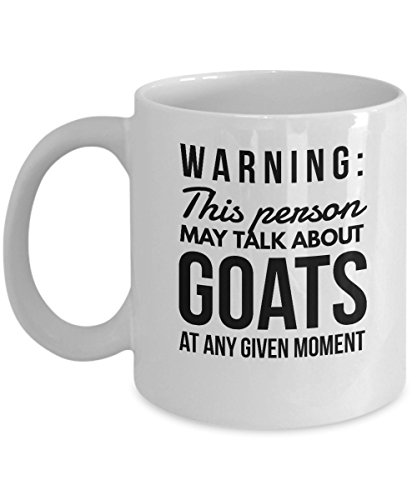 Happy Goat Coffee Mug - Warning This Person May Talk About At Any Given Moment - Farm Animal Gifts for Adults - 11oz White Ceramic Cup by Stuch Designs