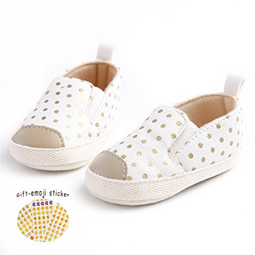 Save Beautiful Toddler Baby Girls Polka Dots Shoes Infant First Walkers (12-18months, white)