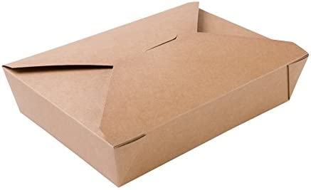 BIOZOYG Caja Alimentos Take Away I Bio Caja Alimentos con Tapa Plegable 1100 ml I Caja Rectangular cartón I Caja de cartón Kraft compostables marrón I 280 Piezas Caja desechable To Go: