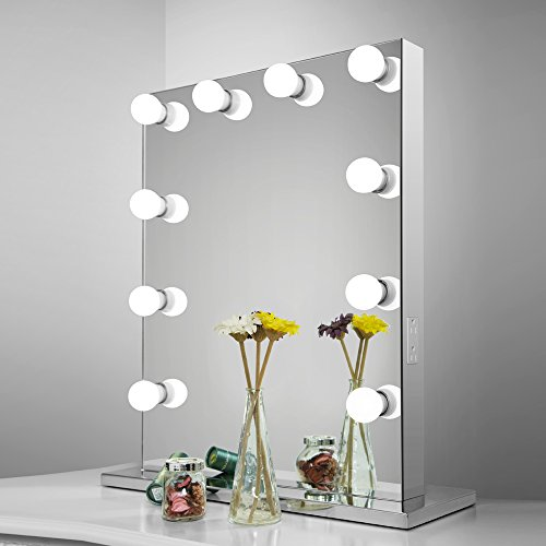 Aoleen Frameless Vanity Mirror with Light Hollywood Makeup Lighted Mirror with Dimmer Free bulbs Gift (6550) by Aoleen