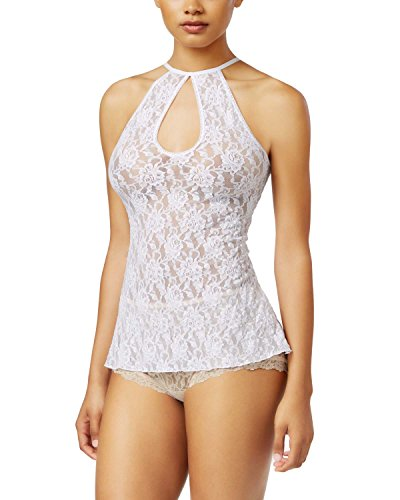 Hanky Panky Womens Sheer Floral Print Camisole Top White L (Sheer Camisole Print)