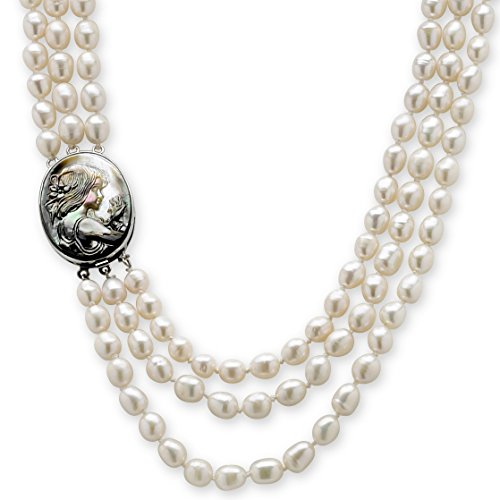 White Cultured Freshwater Pearl and Black Mother-Of-Pearl Cameo Triple-Strand Necklace 28