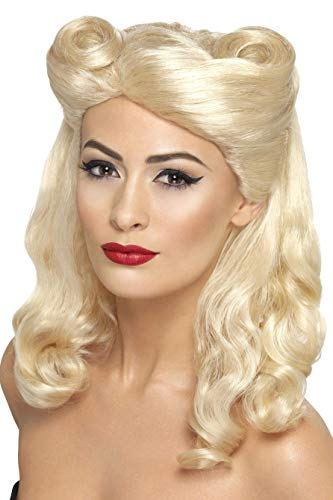 Smiffys Women's 40's Blonde Pin Up Wig with Victory Rolls, One Size, -