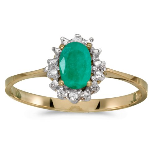 Emerald 10k Ring - 10k Yellow Gold Oval Emerald And Diamond Ring (Size 6)