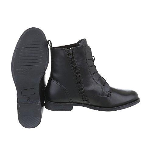 Ital-Design Schnürstiefeletten Leder Damen-Schuhe Klassischer Stiefel Blockabsatz Schnürer Reißverschluss Stiefeletten Schwarz, Gr 41, Wh060H03-