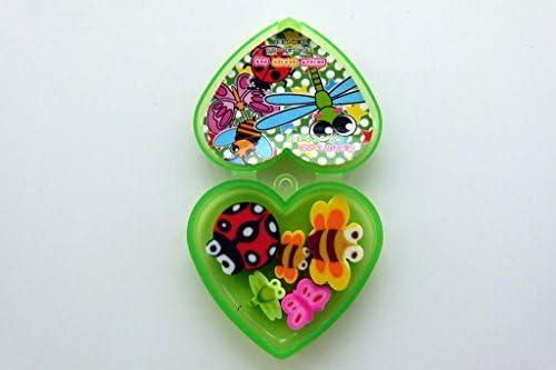 Kawaii insectos Gomas de borrar en forma de corazón caja de ...