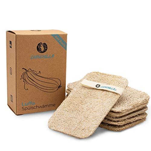 Chinchilla® Luffa spons voor de keuken, verpakking van 6 duurzame keukensponzen, wasbaar en herbruikbaar, duurzame en…