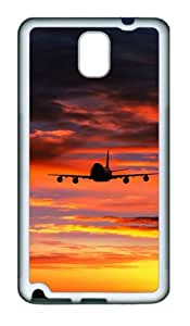 Landing Plane Sunset Custom Design TPU Silicone Case Cover for Samsung Galaxy Note 3 / Note III/ N9000 ¿C White