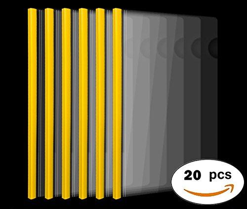 liding Bar Plastic File Folder, 20C, 40 Sheet Capacity, Transparent Resume Presentation File Folders Organizer Binder for A4 and Letter Size Paper, 20 Pcs ()