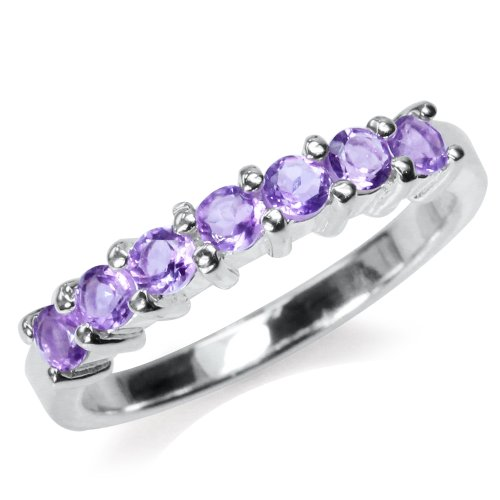 Vs2 Natural (Natural Amethyst 925 Sterling Silver Journey Ring Size 9)