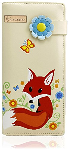 KukuBird Fox diseño con flor hebilla grande damas monedero embrague Cream